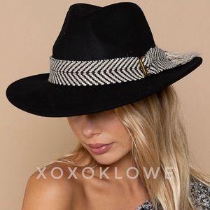 Black Wool Chevron Buckle Strap Wide Brim Hat